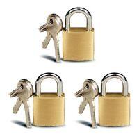 3x Small Brass Padlocks Mini Brass Tiny Box Locks Keyed Jewelry 6 Keys 20mm R2O4