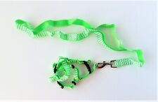 Pet Harness with leash - size small - lime green & white