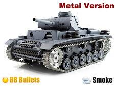 2.4Ghz 1/16 PanzerKampfwagen III RC Battle Tank Super Metal w/Smoke & Sound RTR