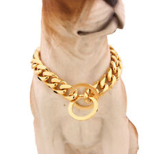 Pet Dog Collars Choke Gold Silver Cuban Chain Dog Necklace Stainless Steel 15mm