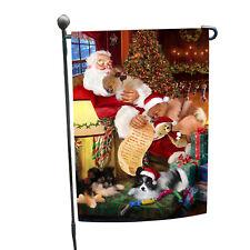 Pomeranian Dog and Puppies Sleeping with Santa Garden Flag