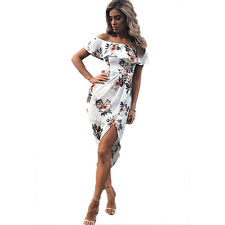 Womens Boho Floral Off the Shoulder Party Dress Casual Long Maxi Beach Sundress