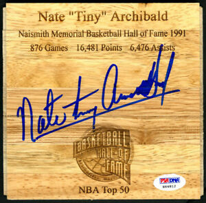 Nate Tiny Archibald SIGNED Floorboard Boston Celtics RARE PSA/DNA AUTOGRAPHED