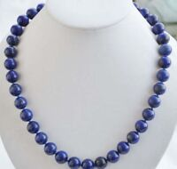 8mm  Blue Lapis Lazuli Gemstone Round Beads Necklace 18'' JN6