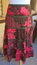 BILLABONG TIERED PEASANT SKIRT COTTON BURGUNDY/RED TROPICAL FLORAL COTTON M 9/10