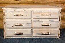 Rustic Log Dresser 6 Drawer - Amish Made Furniture in Lodge Cabin Style - NEW