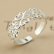 Women Silver Plated hollow heart Fully Adjustable Open Ring Tumb Ring Gifts