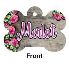 Floral & Wood Design PET ID TAG Personalized Any Name Dog Tag