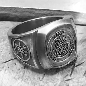 Silver Satanic Rings For Man Pentagram Gothic Occult Ring Unique Oxidized Gift