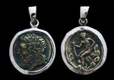 Zeus Göttervater Antike Münze Anhänger Silber Gothic Schmuck - NEU
