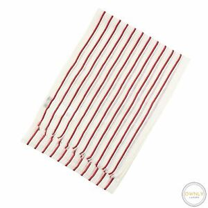 NWT Brooks Brothers Black Fleece Ivory Red Striped Linen Mix Open Weave Scarf