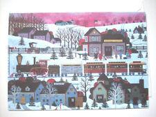 Christmas Whistle Stop Jane Wooster Scott greeting card unused vintage modern D2