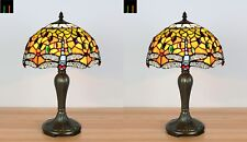 Free Postage - Pair of 2 JT Tiffany Dragonfly Stained Glass Table Lamp Bedside