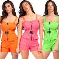 Womens Ladies Neon Utility Cargo Belted Zip Pocket Mini Playsuit Jumpsuit Shorts