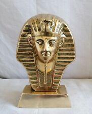 More details for large vintage solid brass bust of tutankhamun