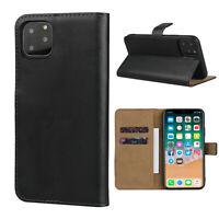 Leder Hülle Apple iPhone 11 Pro Max Schutzhülle Schwarz Flip Case Tasche Handy