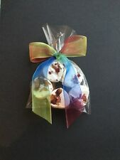 5 Heart Rose Scented Bath Bombs with Rainbow Ribbon...Gift....
