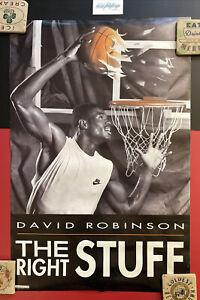 """Vtg NIKE NBA Basketball Poster David Robinson Right Stuff 21x32"""" 1990 BASKETBALL"""
