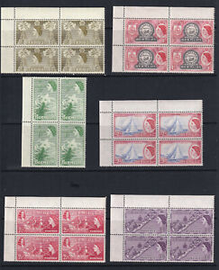QEII Unmounted mint (MNH) Part set of 1953 issue in Margin Blocks. Values to 3d.