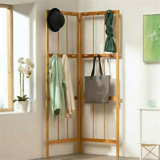Folding Bamboo Coat Stand Corner Garment Rack Clothes Rail Wall Hanging Shelf US