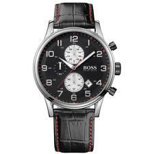 HUGO BOSS Uhr 1512631 Aeroliner Herren Chronograph Leder Schwarz Armband Datum