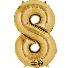 86.4cm 88cm Dorado Gigante Metalizado Número 8 Globos de Helio Cumpleaños Edad