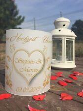 4x Tischlicht Hochzeit Tischdeko Windlicht Deko mit Namen Datum Gastgeschenk