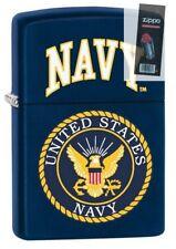 Zippo 3596 United States Navy Seal Navy Blue Matte Finish Lighter + FLINT PACK