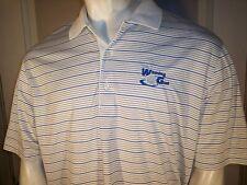 Greg Norman Xl Blue Stripe on White Poly Golf Shirt Sap-Winning Golf-Shark Logos