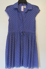 Guess Los Angeles Purple Mesh Polka Dot Cap Sleeve Stretch Mini Dress SIZE:12