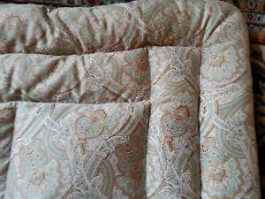 Grand édredon couvre-lit cachemire piqué garni duvet très léger   ancien