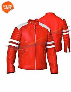 fight club style motorbike leather jacket red leather white strips and shoulder