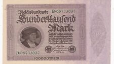 KAPPYSCOINS ID10551 GERMANY INFLATION 1923 100,000 MARK BANK NOTE  CRISP CH AU