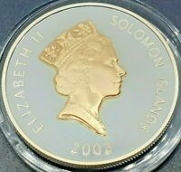 Solomon Islands $5 2002 QEII Orb KM#113a Silver 0.925 Gold Gilded Proof Coin