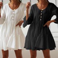 UK Women Holiday Beach Long Sleeve Loose Button Mini Tunic Smock Dress Size 8-26