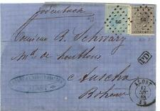 """BELGIUM 1868 10 & 20 CENT. TIED BY DOTTED # 3 CANCELS ALOST TO BOHEMIA """"P.D."""" IN"""