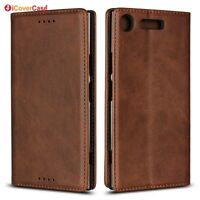 For Sony Xperia XZ1 Luxury Magnetic Leather Wallet Flip Case Cover Protective