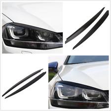 2X Black Headlight Eyebrow Eyelids Cover Trim Decor For VW Golf 7 VII GTI R MK7