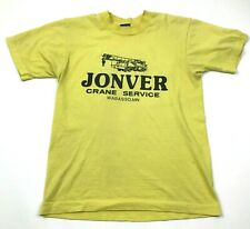 VINTAGE Jonver Crane Service Shirt Size Small s Yellow Double Sided Tee 80's USA