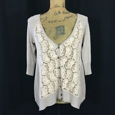 Anthropologie Cardigan Sm S Slouchy KNITTED KNOTTED Beige Crochet Lace Filigree