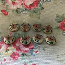 8 Painted   Flower Vintage  Plastic Buttons