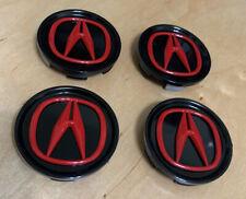 Acura Wheel Center Cap Rl Cl Tl Rdx Mdx Tsx Oem Black /Red 69 Mm set Of 4 Pcs