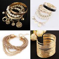 Neu Mode Charme Frauen Viele Stil Gold Strass Armreif Manschette Armband Schmuck
