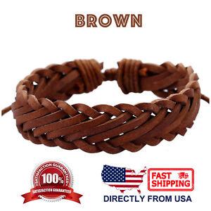 Retro Braided Leather & Rope Black Brown Coffee Mens Womens Wristband Bracelet