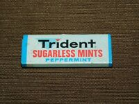 "VINTAGE 2 1/4"" LONG TRIDENT SUGARLESS MINTS PEPPERMINT TIN *EMPTY*"