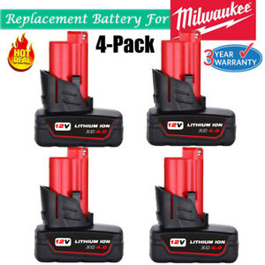 4X 12 Volt For MILWAUKEE M12 48-11-2460 48-11-211 4.0Ah LITHIUM ION Battery NEW