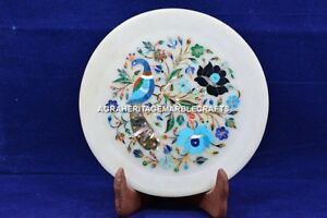 """7"""" Marble Beautiful Inlaid Serving Dish Round Plate Peacock Arts Decor H5415"""