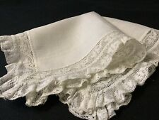 #6383🌟Early Antique Prairie Wide Homespun NeedleLace Wedding Handkerchief
