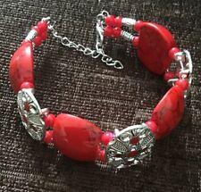 Red And Silver Coloured Tibetan Design Fashion Bracelet
