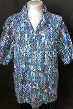 Hawaiian shirt, cotton, Made in Hawaii, blue tones, 1970s, size 2XL